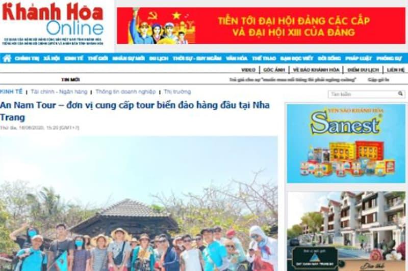 Báo Khánh Hòa công nhận An Nam Tour là đơn vị cung cấp tour đảo hàng đầu Nha Trang