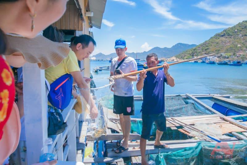 Chọn hải sản tại lồng bè
